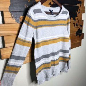 GAP Grey and Mustard yellow Striped Sweater